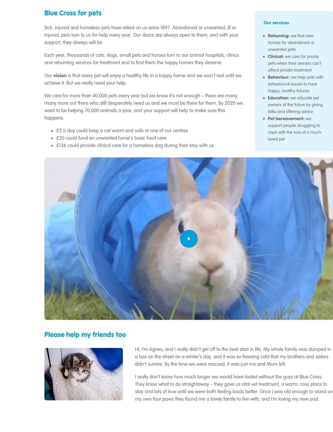 Blue Cross About Us page