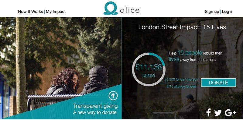 St Mungo's appeal using blockchain fundraising site alice.si