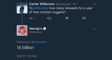 Carter Wilkerson's tweet to Wendy's