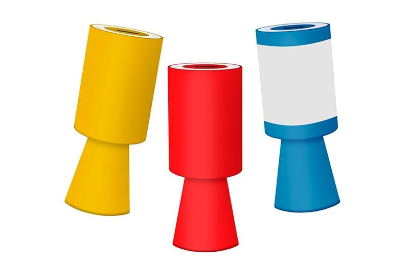 Yellow, red and blue charity collecting boxes