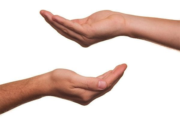 Two upturned hands