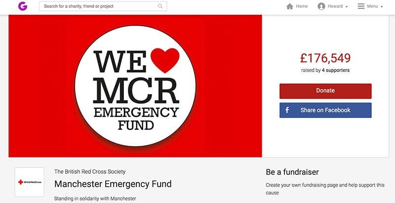 We Love Manchester Emergency Fund JustGiving page