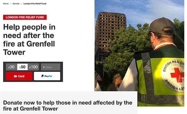 British Red Cross' Grenfell Tower fire emergency appeal - website screenshot from redcross.org.uk