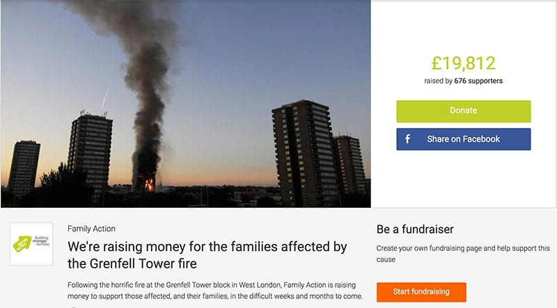 Family Action appeal on JustGiving for Grenfell Tower fire victims