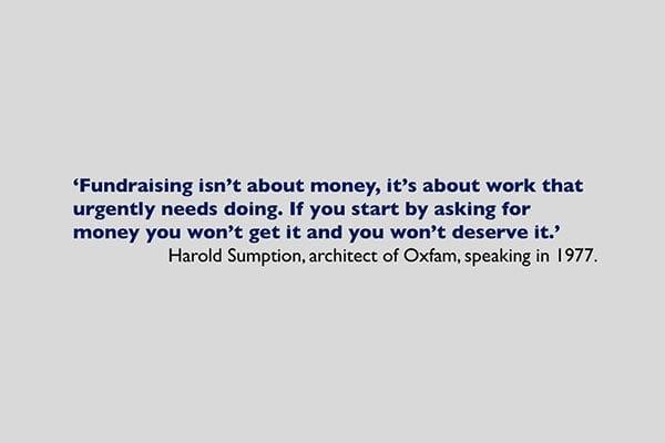 harold sumption quote fundraising