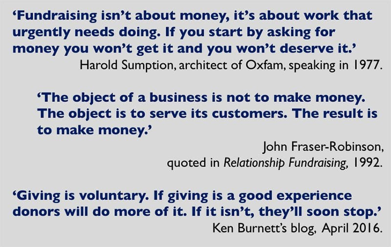 Fundraising not about money - quotes