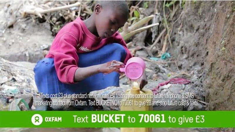 Child drinks dirty water in Oxfam DRTV advert