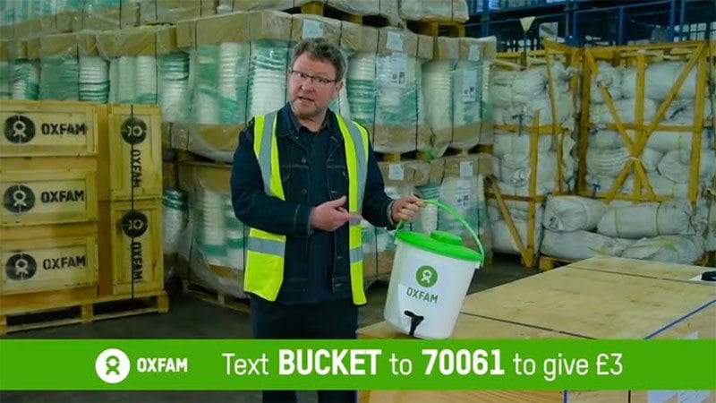 Oxfam bucket appeal on DRTV