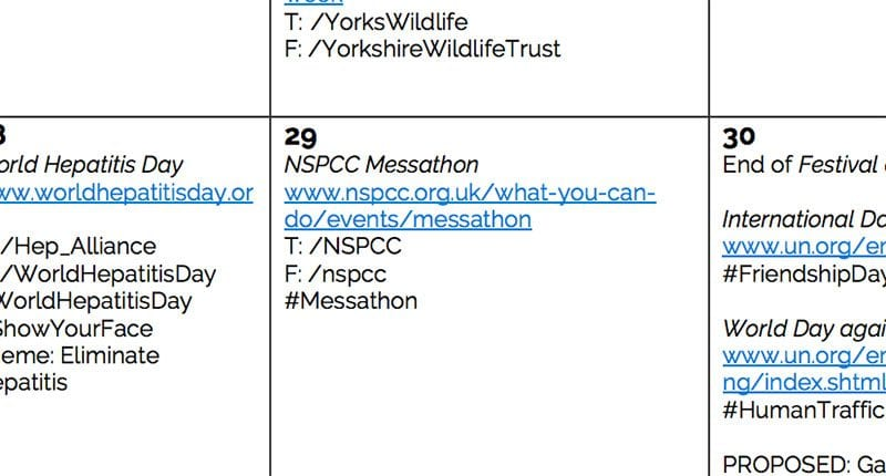 The Power Of Monthly Social Media Calendars For Charities  Uk