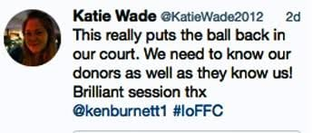 "Tweet by Katie Wade - ""this really puts the ball back in our court"""