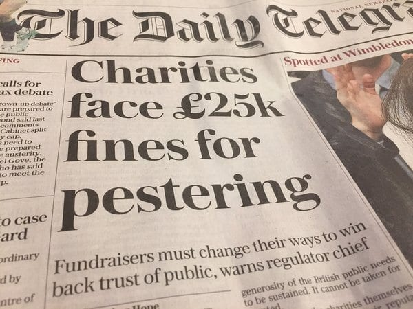 Pestering charities will face £25000 fines
