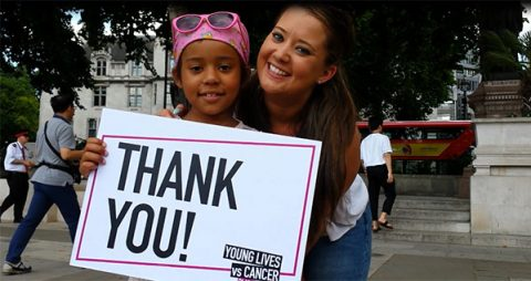 Khianna says thank you to Morrisons for supporting CLIC Sargent