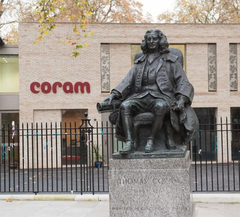 Thomas Coram stutue outside Coram charity building