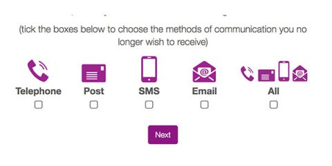 Fundraising Preference Service channel options