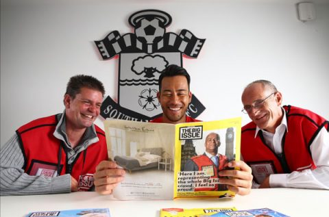 Southampton FC and the Saints Foundation have agreed a partnership with The Big Issue. Saints star Maya Yoshida, centre, is pictured with Big Issue vendors, Lee Barnes and Mark Morgan