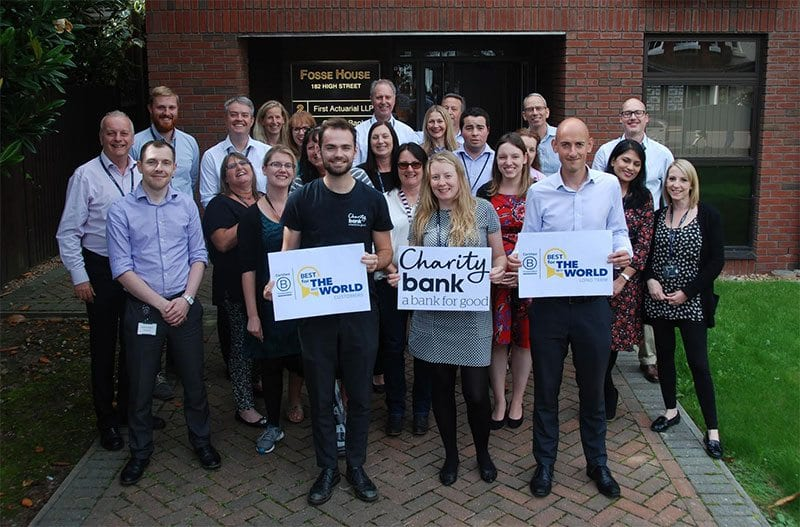 Charity Bank staff celebrate their B Corp win