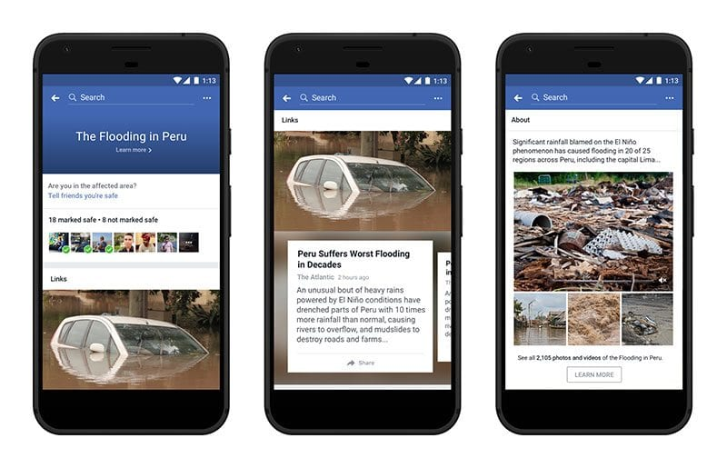 Facebook Crisis Response related content about Peru