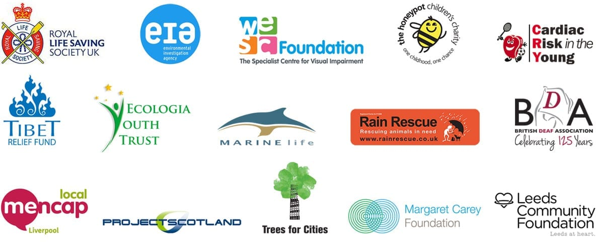 Logos of charities using DontSendMeACard