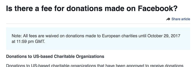 Facebook waives fees on donations to European charities until Oct 2017