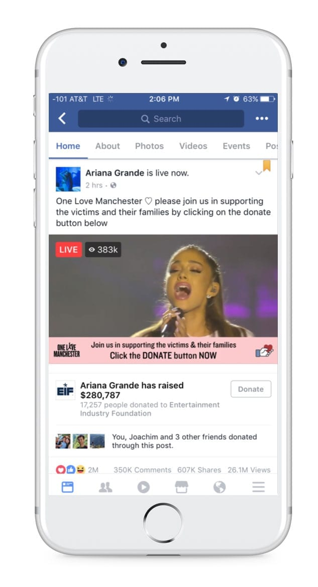 Facebook Live - Ariana Grande fundraising concert in Manchester