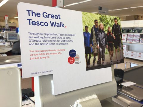 Till round-up sign in Tesco