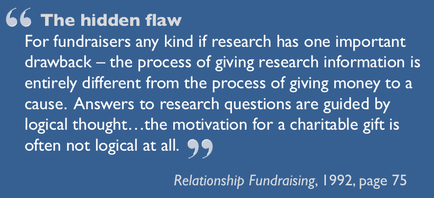 The hidden flaw - quotation from Relationship Fundraising (1992)