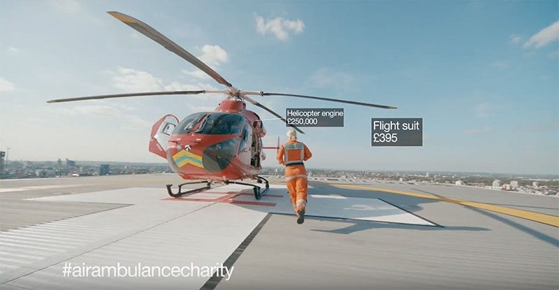 Paramedic running towards London's Air Ambulance