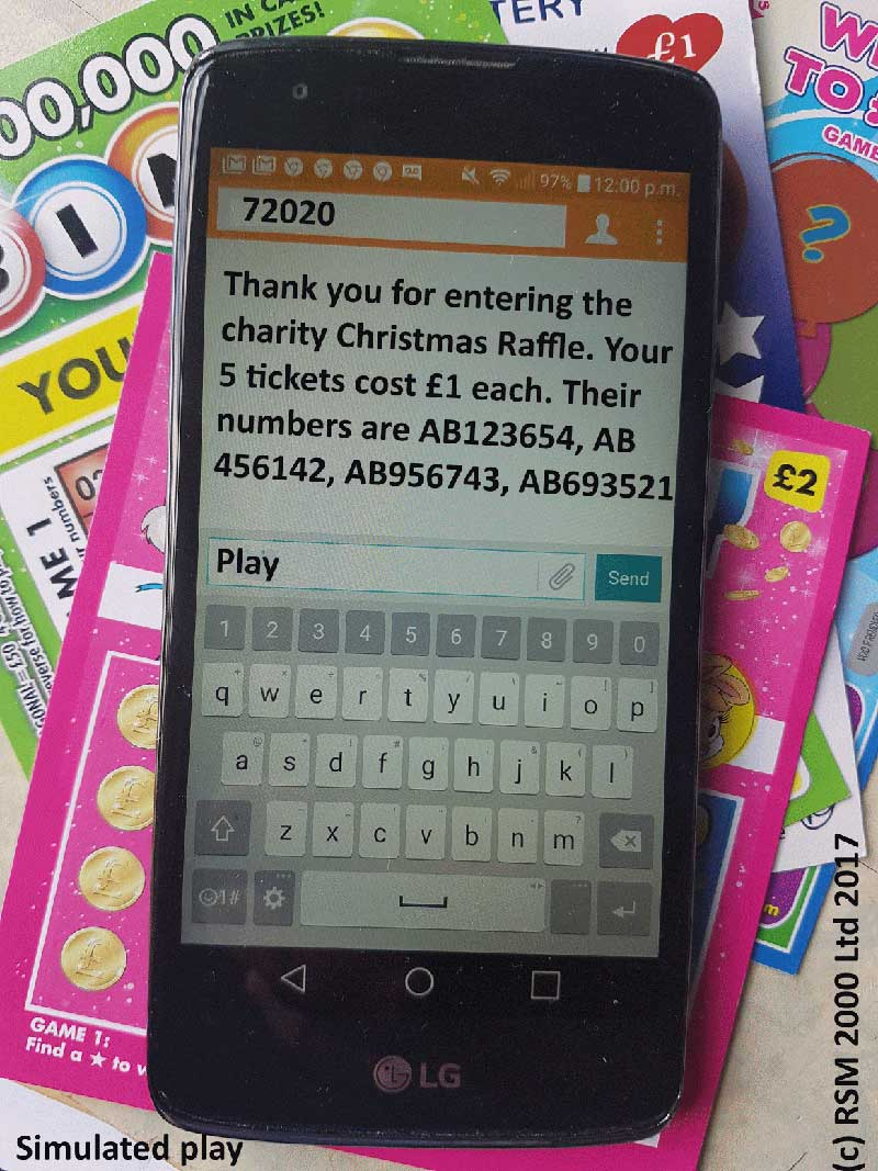 Simulated mobile society lottery code, by RSM 2000 Ltd