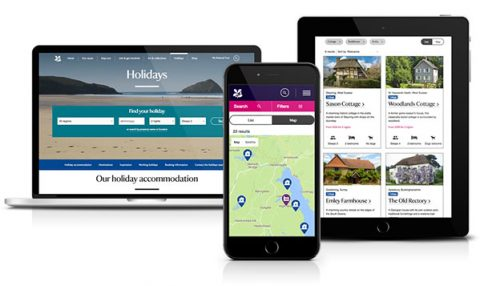 New design of National Trust holidays site
