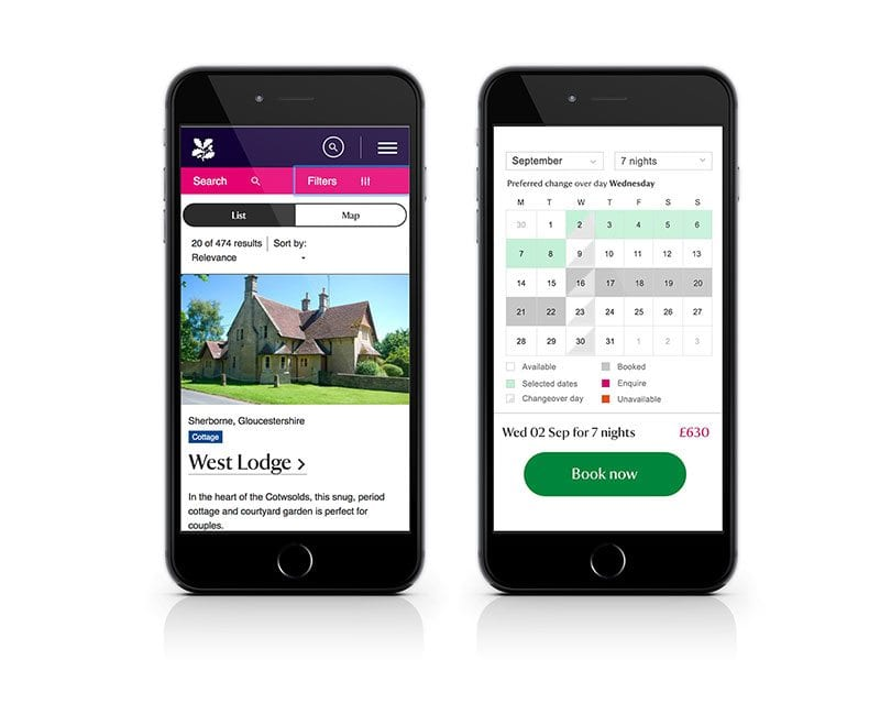 Mobile view of National Trust holidays' redesigned site