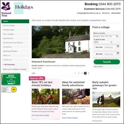 Old version of National Trust holidays site