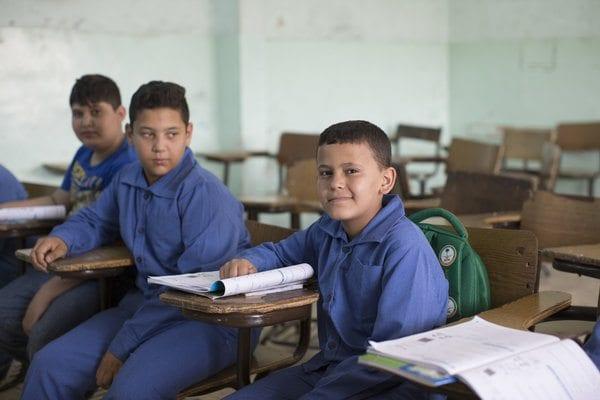 Syrian refugee boys in Jordanian classroom