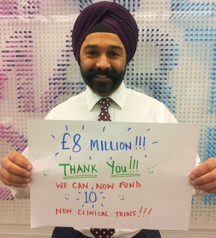 Sir Harpal Kumar thanks donors for £8m raised in #nomakeupselfie campaign