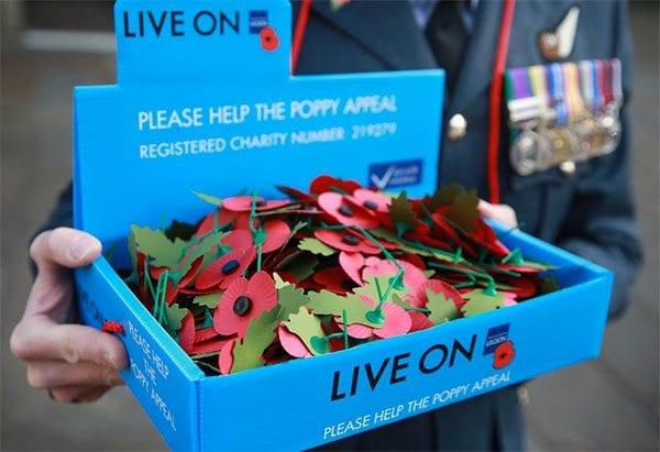 Poppies in a Poppy Appeal blue tray