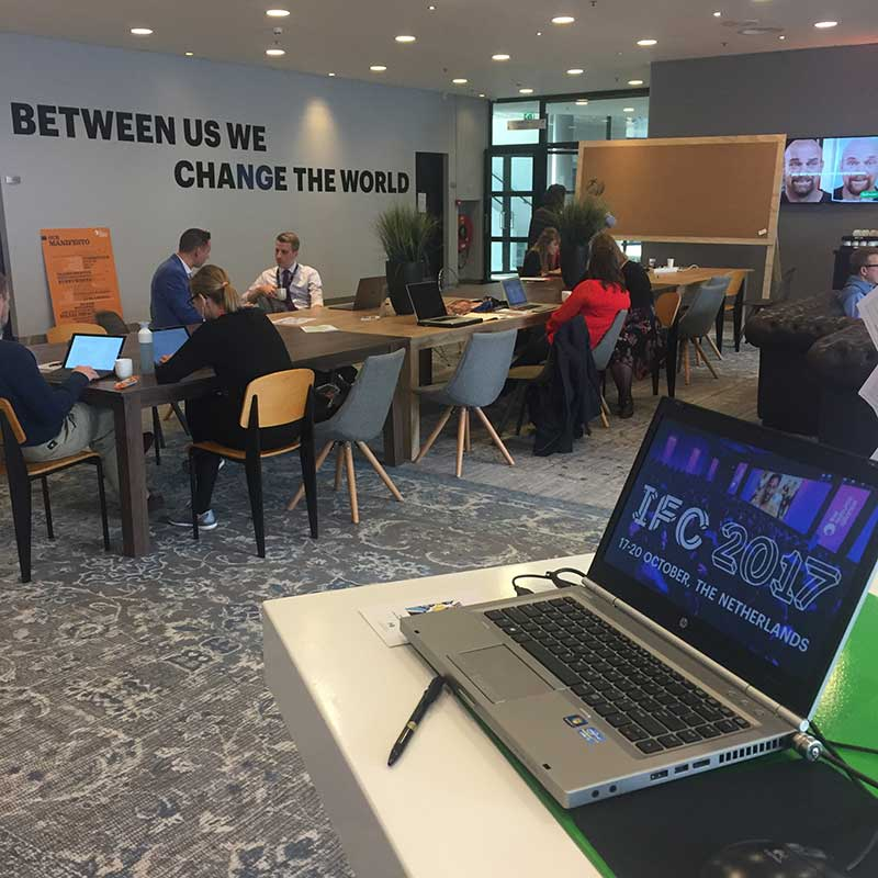 Between us, we change the world - sign at IFC
