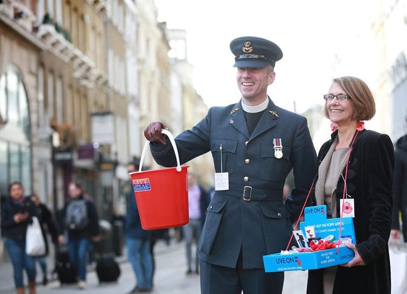 Two Poppy Appeal collectors fundraising for the Royal British Legion