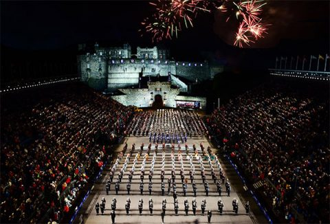 Royal Edinburgh Military Tattoo, Esplanade, Edinburgh Castle at night