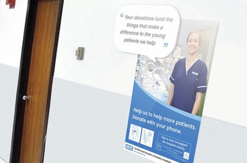 Cashless giving poster in Norwich and Norfolk University Hospital