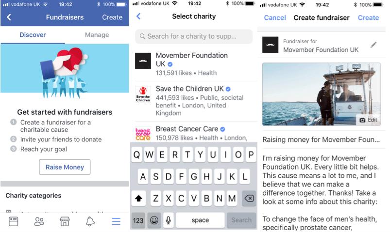 Facebook Personal Fundraiser