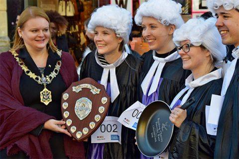 Blandy & Blandy staff in Reading's charity pancake race