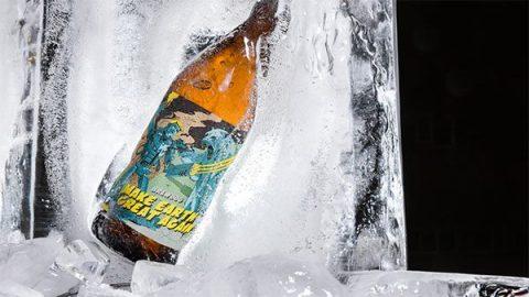 Bottle of Brewdog's Make Earth Great Again, encased in ice