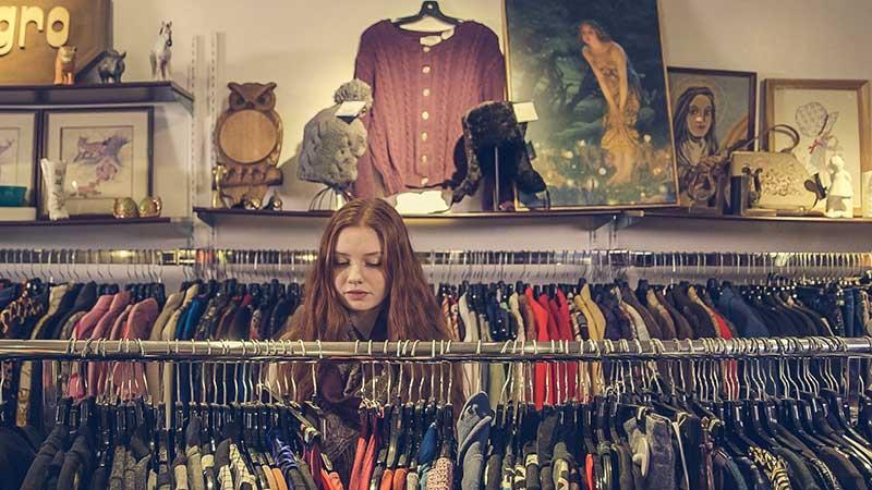 Customer shopping in charity shop