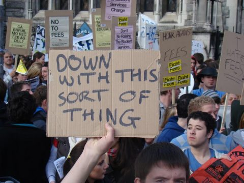 Down with this sort of thing (message on protest placard)