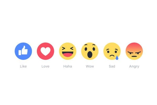 Facebook emoji reactions - like, love, haha, wow, sad, angry