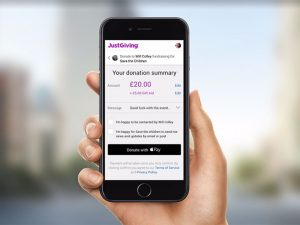 You can now donate on JustGiving with Apple Pay