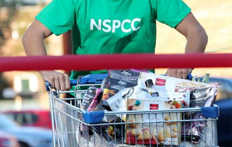 NSPCC tshirt and Lidl shopping trolley full of food