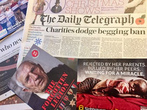 Charities dodge begging ban - Daily Telegraph front page 11 November 2017