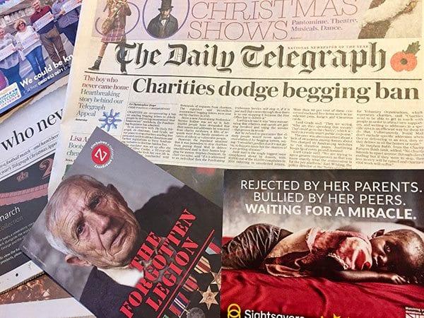 Charities dodge begging ban - Daily Telegraph front page 11 November 2017