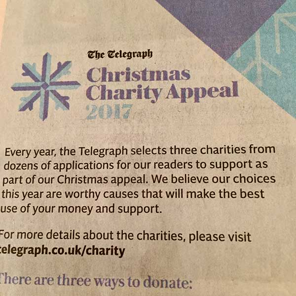 Telegraph Christmas Charity Appeal 2017