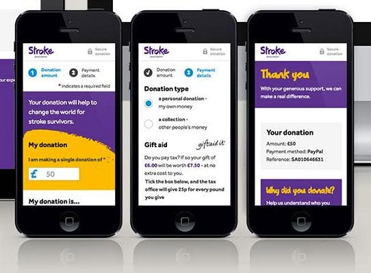The Stroke Association's redesigned donation process on mobiles
